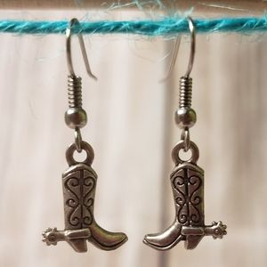 Rustic cowboy boot earrings